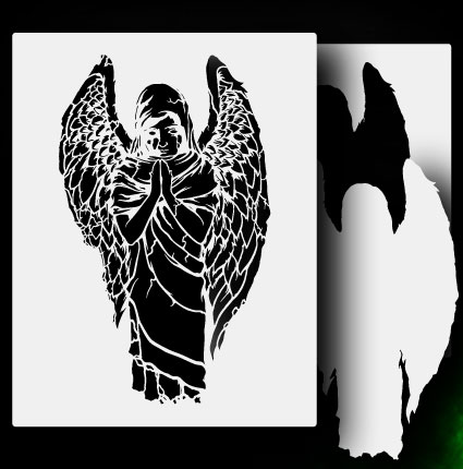 Angel Statue 2 Airbrush Stencil Template Airsick Zombies