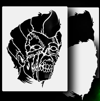 ... about Zombie Head 1 - Airbrush Stencil Template Airsick Zombies Zombie Head Stencil