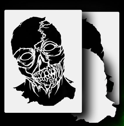 ... about Zombie Head 3 - Airbrush Stencil Template Airsick Zombies Zombie Head Stencil