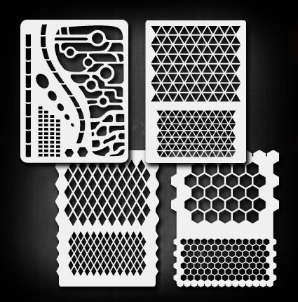 ebay turbo lister templates - mini geometric patterns set airbrush stencil template