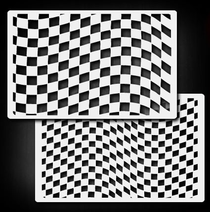 Waving checkers b airbrush stencil template airsick ebay for Chinese checkers board template